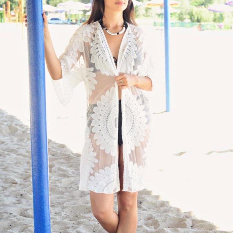 Novinka 2017 Kimono Cardigan Beach Cover-Up Blusas Ženy Vyšívané topy Halenka halenky Dámské sexy krajkové košile Topy