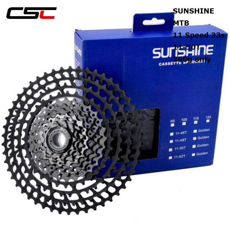 Sunshine 363g only 11-50T 33s bicycle freewheel sprockets bike 11 speed cassette mountain bike freewheel sprocket mtb cog 50T ampeg pf 50t