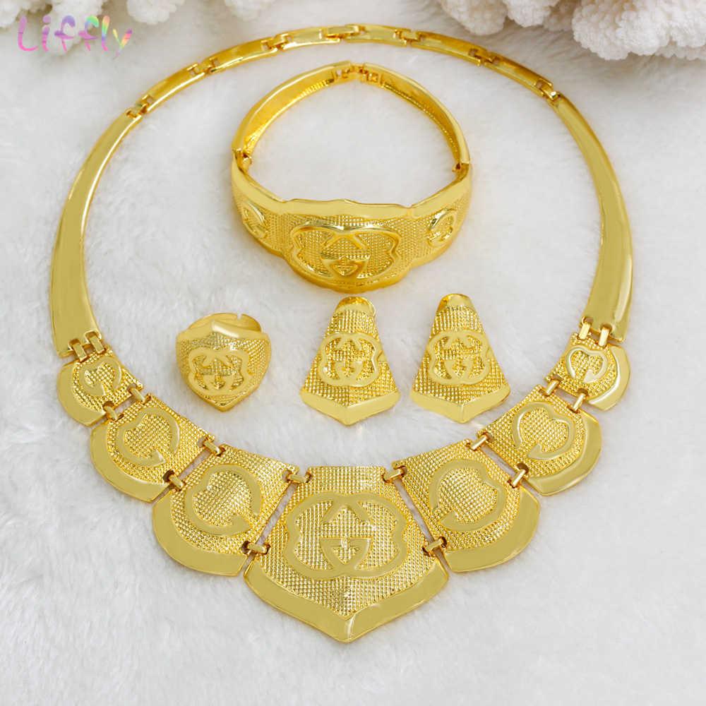 Liffly แฟชั่นดูไบสร้อยคอสีทองขนาดใหญ่ชุดเครื่องประดับ Charm ต่างหูเจ้าสาวของขวัญแอฟริกันงานแต่งงานเครื่องประดับ
