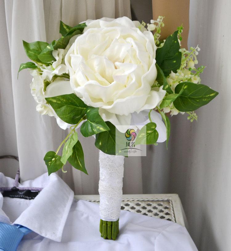 Handmade artificial flower wedding flower bride holding flowers small bouquet PU peony