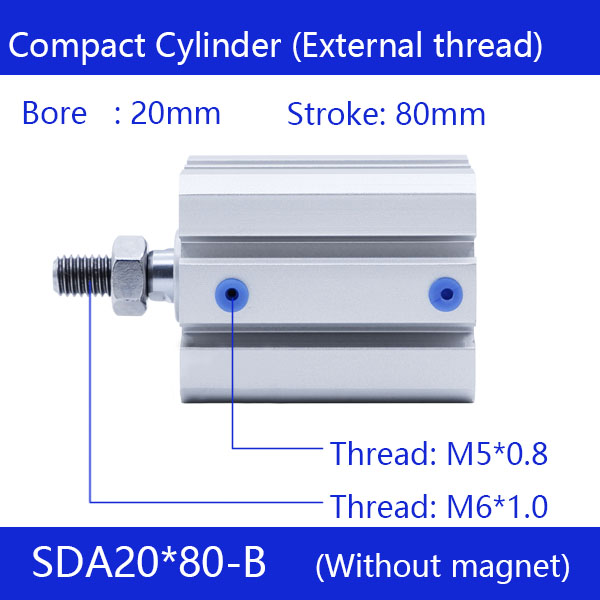 SDA20*80-B Free shipping 20mm Bore 80mm Stroke External thread Compact Air Cylinders Dual Action Air Pneumatic Cylinder