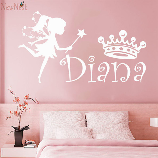 Wall decal girl name fairy crown sticker personalized name nursery baby kids custom name vinyl sticker