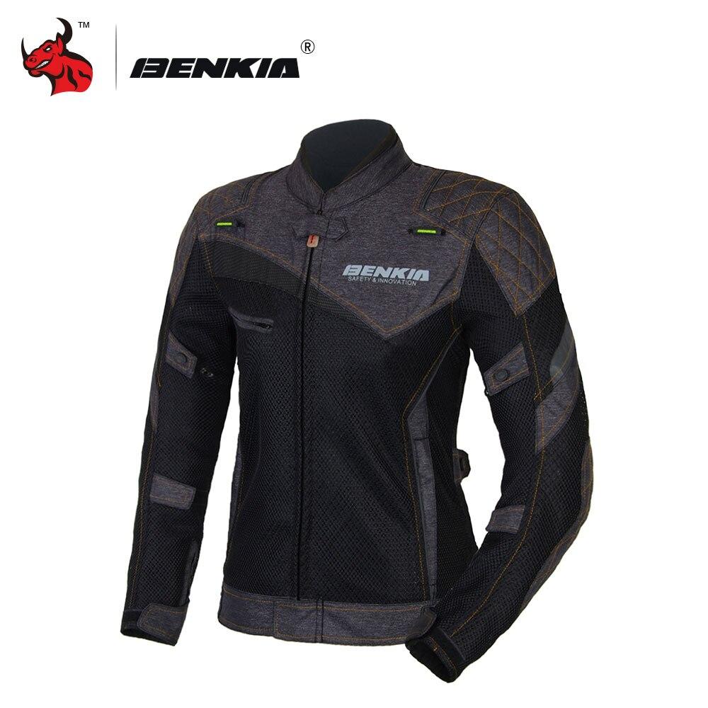 BENKIA verano de las Mujeres de Negro chaqueta Motocross chaqueta de malla  transpirable Ropa de montar be1225397bfef