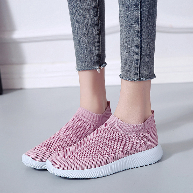 HTB1phURadjvK1RjSspiq6AEqXXaU Rimocy plus size breathable air mesh sneakers women 2019 spring summer slip on platform knitting flats soft walking shoes woman