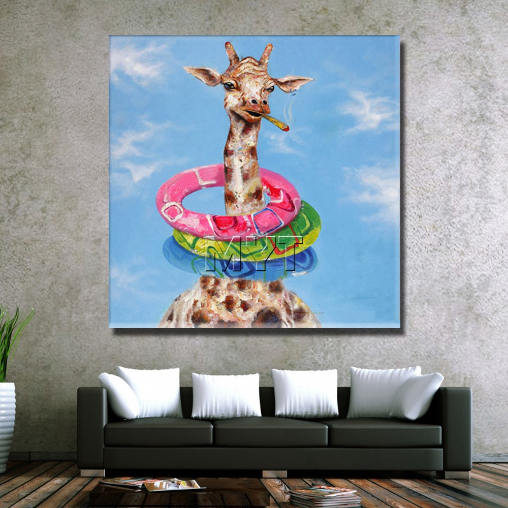 No Framed and With Framed Painting Funny Deer Pictures Image Oil ...
