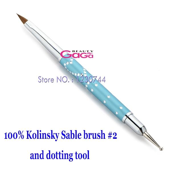Beauty 2 in 1 Nail Art Brush Pen 100% Kolinsky Sable Hair Brush #2 + Stainless Steel Dotting Tool Nail Art Manicure Accessory