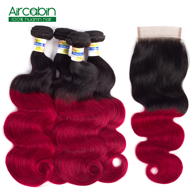 Ombre Body Wave 4 Bundles with Closure T1B/Red Dark Roots Brazilian Human Hair with Closure Non Remy AirCabin