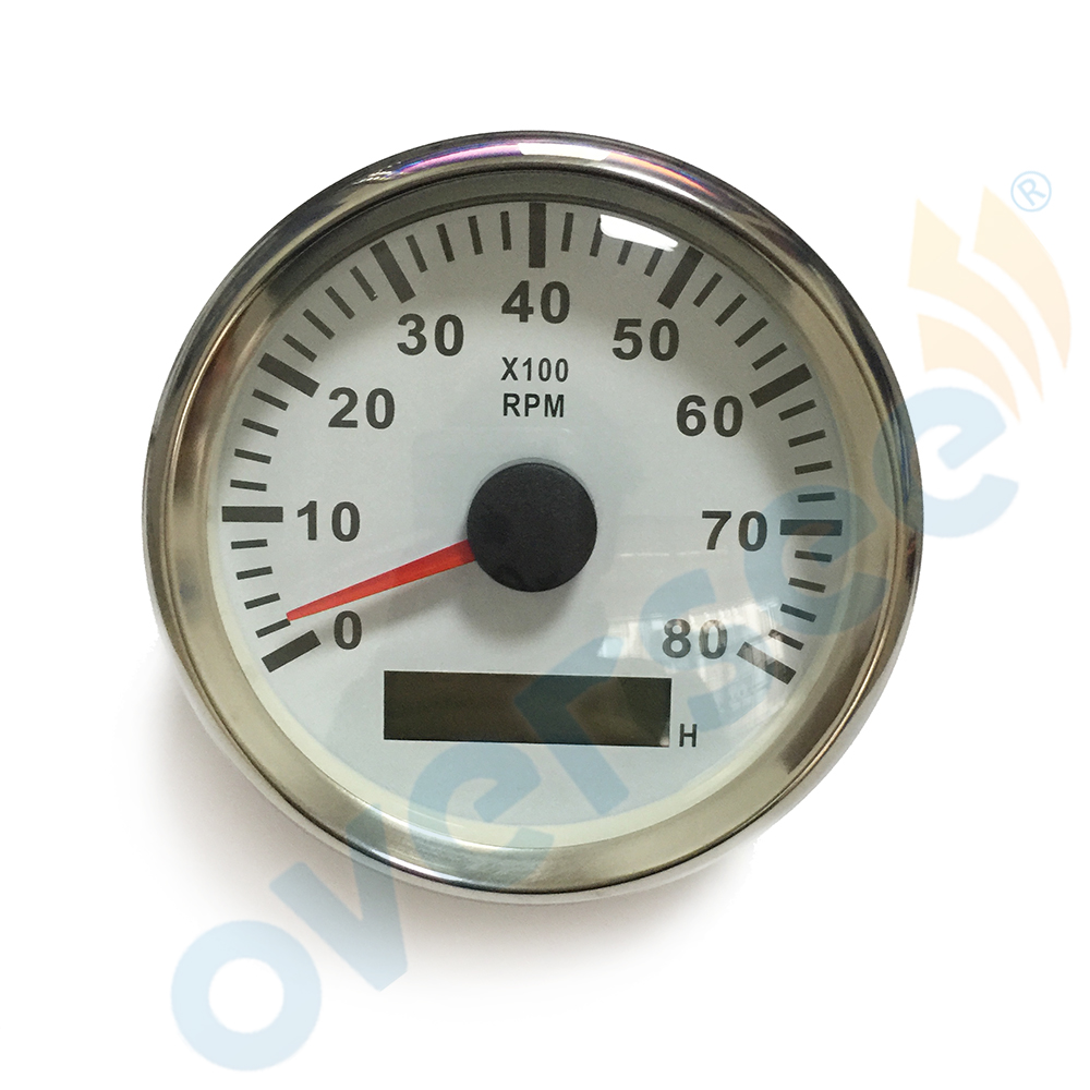 OVERSEE 3.5 Inches 85MM Tachometer with LCD Hourmeter White color 8000 RPM with light inside