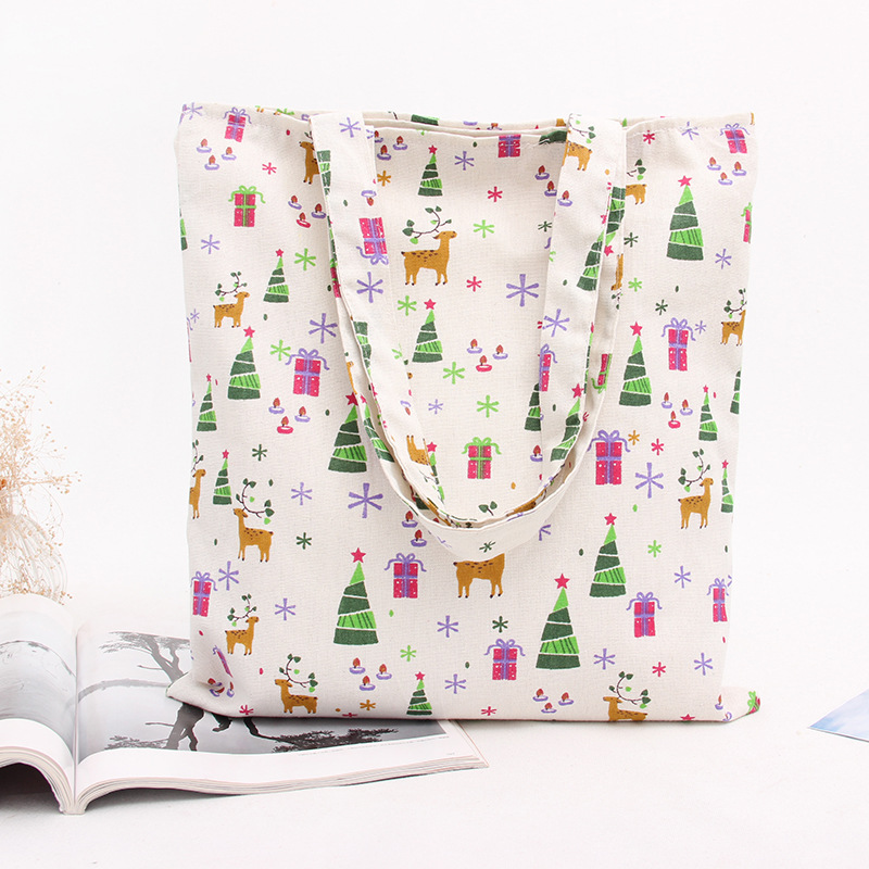 YILE Handmade Cotton Linen Eco Reusable Shopping Shoulder Bag Tote Deer Gift L014 ...