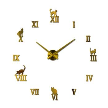 Hot design large decorative wall clocks brief design diy clocks digital watch quartz living room 3d cat wall stickers 14
