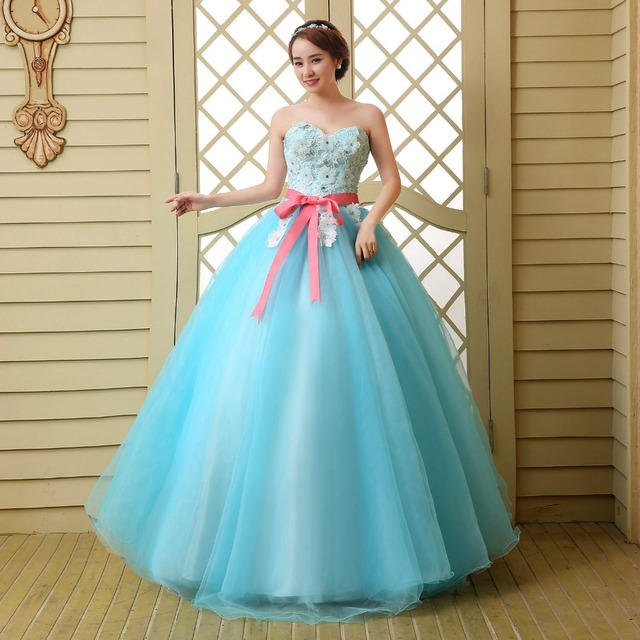 Customized Size Blue Ball Gown Quinceanera Dress With Handmade