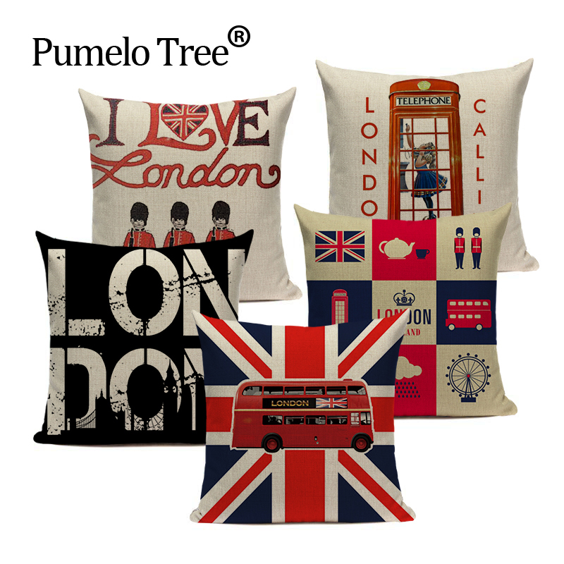 Nordic Decoration Home Cushion Cover London England Sofa Covers 45Cmx45Cm Custom High Quality Sofa With Bed Printed Pillow Case