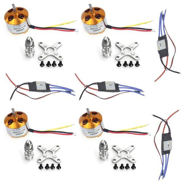 4 Sets A2212 1000KV Brushless Outrunner Motor 13T + 30A Speed Controller ESC ,RC Aircraft KK QuadCopter UFO F02015 A