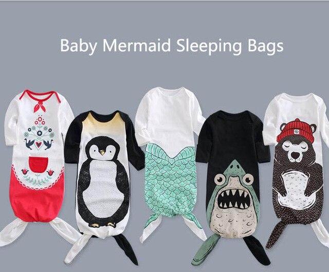 Baby Mermaid Sleeping Bags Cartoon Babies Autumn Spring Cute Newborn Sleeping Bag For Boys Girls Swaddle Blanket 0-2 Years Old