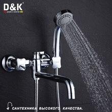 D & K Badezimmer Duscharmatur mit Langem Auslauf Set Dual Griff Badewanne Wasserhahn mit Handbrause Wand Verchromt messing DA1383301