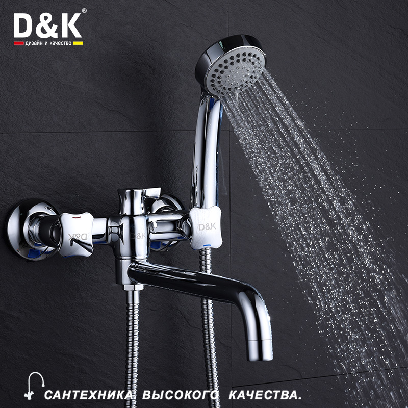 D&K Bathroom Shower Faucets with Long Spout Set Dual Handle Bathtub Faucet with Hand Shower Head Wall Chromed Brass DA1383301