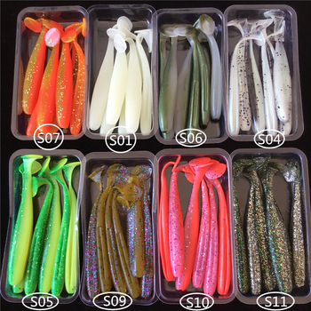 Noeby 48 pieces 9cm 7.5cm silicone bait soft lures T tail swimbaits soft fishing baits double color Wobbler Carp Fishing lure