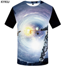 KYKU Brand Galaxy Space T shirt Men Astronaut Shirt Print Earth Tshirts Casual Nebula T-shirts 3d Abstract Anime Clothes