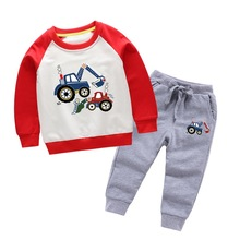 Children's sweater suit Spring Autumn bulldozer excavator printing long-sleeved boy trousers baby boys sweater two-piece suit цена