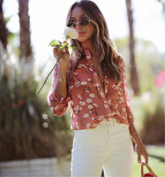 Women Fresh Daisy Floral Print Long Sleeve Turn down Collar Cotton and Silk Blouse Shirt