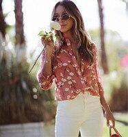 Women Fresh Daisy Floral Print Long Sleeve Turn down Collar Cotton and Silk Blouse Shirt