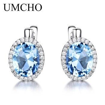 2baa933e2840 UMCHO Nano cielo azul Topacio piedras preciosas pendientes de Clip  pendientes largos aretes pendientes para las mujeres genuino Plata de Ley 925  pendientes ...