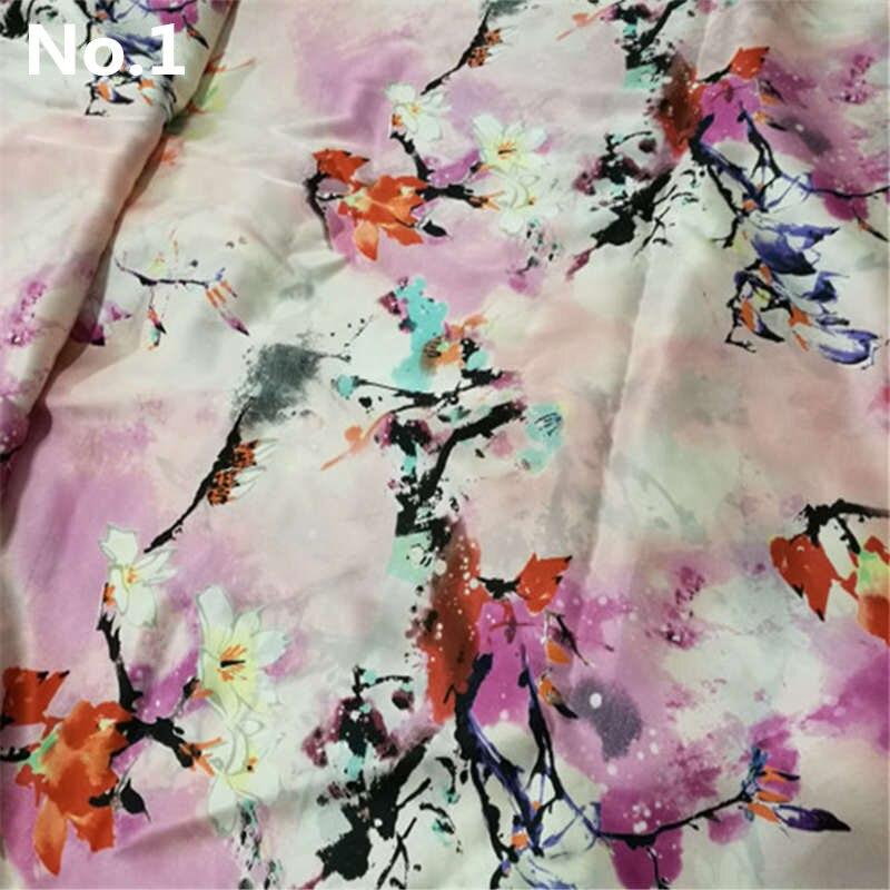 Nové Doprava zdarma 100% čistá přírodní hedvábná tkanina Čínská hedvábí fabirc pro šaty závěsy šátek oděv lůžkoviny květinový tisk LS0410