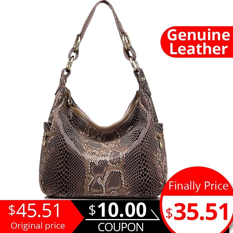REALER brand women genuine leather handbag female shoulder crossbody bag design hobos top handle tote bag