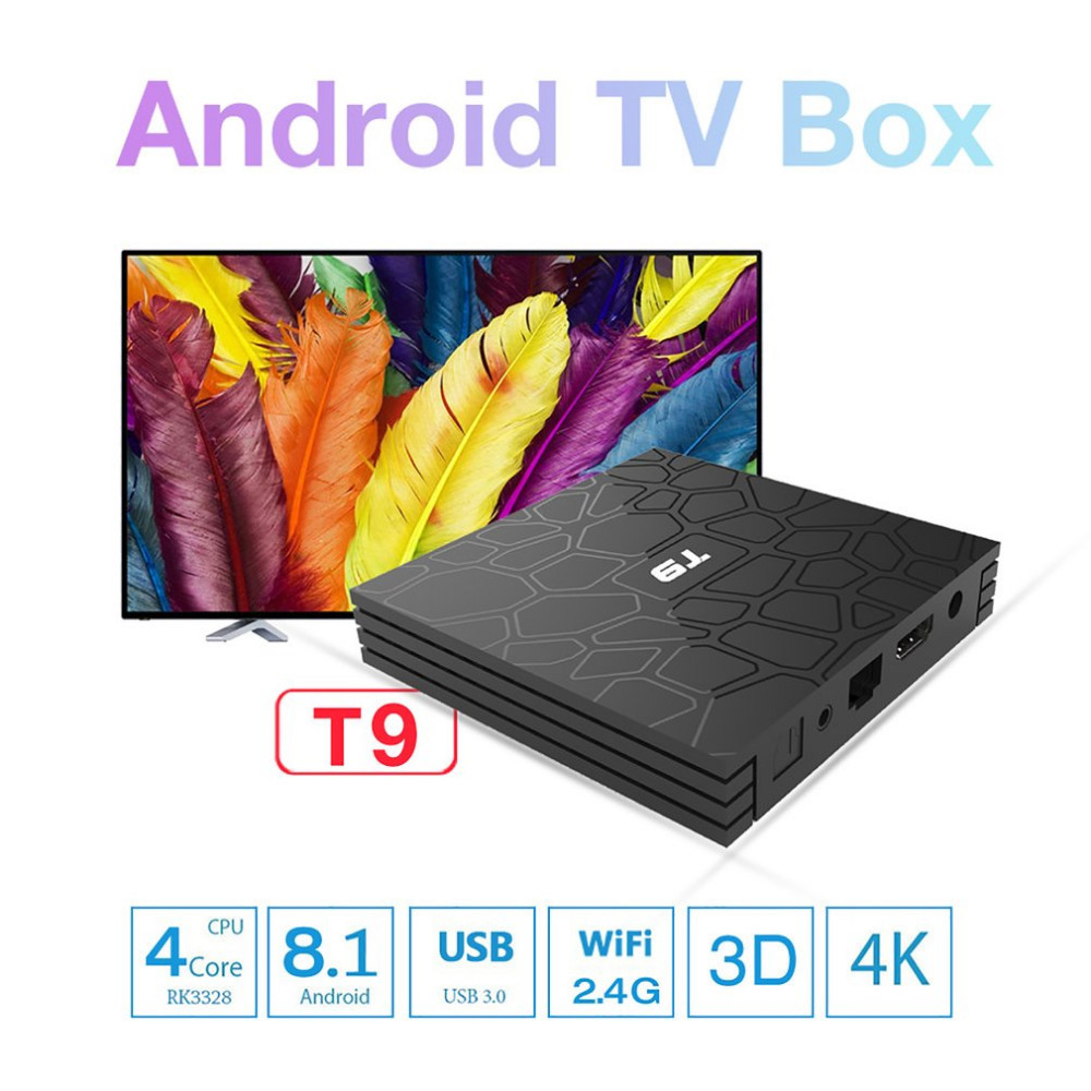 Portable T9 4 GB + 32 GB pour Android 8.1 Quad-Core Bluetooth 4.0 TV Box 4 K Smart 17.6 HD lecteur multimédia UE EU UK AU Plug