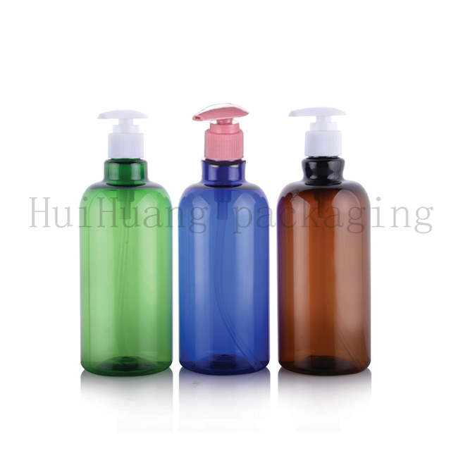 d62479eadbe3 US $31.27 8% OFF|12pcs 500ml Empty Brown blue green Lotion Pump  Bottles,Amber Plastic Shampoo Container With Dispenser,Liquid Soap PET  Bottle-in ...