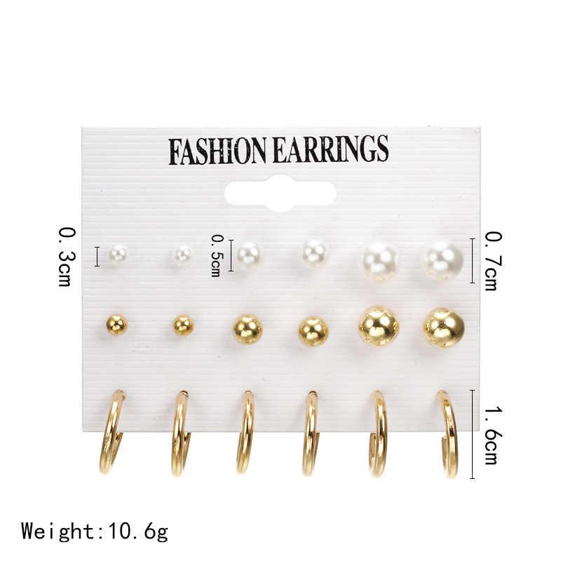 Hot Sale Gold Silver Round Ball Pearl Stud Earrings Set Korean Fashion Simple Cute Earrings for Women Oorbellen Brinco Bijoux