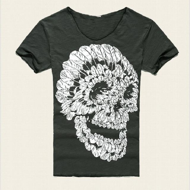 Mens Deep V Neck T Shirt Summer Green Cotton Mens Skull Print Thin Slim V Neck T-shirt Plus Size M-XXL #T99