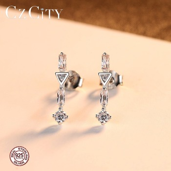 CZCITY Design Exquisite 925 Sterling Silver Stud Earrings for Women Dating Luxury Trendy CZ  Female Fine Jewelry Christmas Gift