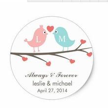 1,5 дюймов любовь птицы монограмма наклейки на свадьбу