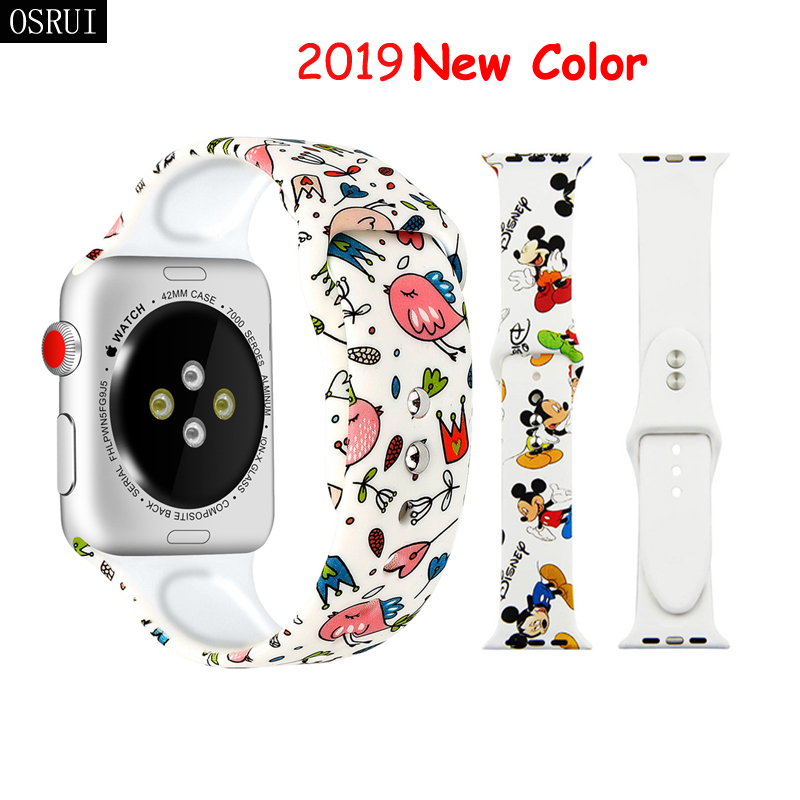 Strap For Apple Watch Band 42mm 38mm Iwatch Correas 44mm 40mm 5 4 3 2 Pattern Sport Silicone Bracelet Apple Watch 5 Accessories