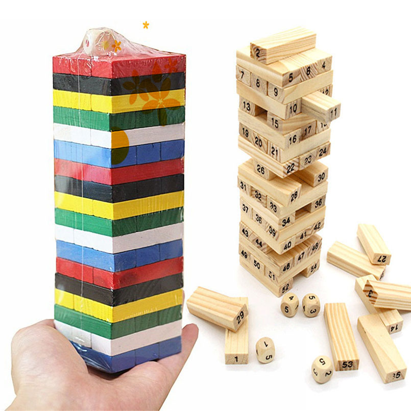 54PCS/set Wooden Tower Building Blocks Toy Rainbow Domino Stacker Board Game Folds High Montessori Educational Children Toys