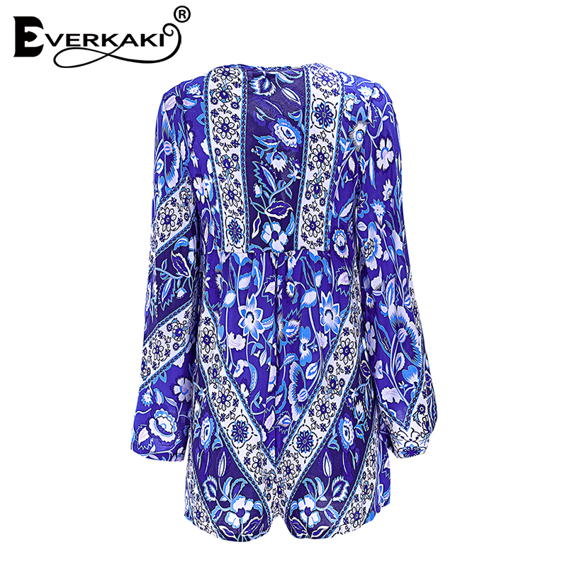 Everkaki Women Boho Floral Print Bell Playsuits Rompers Neck Tied Jumpersuits Bohemian Rompers Playsuits Femme 2018 Summer New