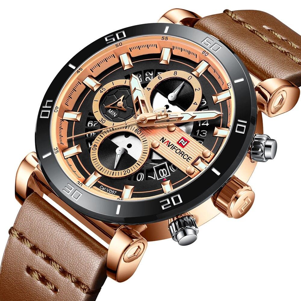 90 OFF NAVIFORCE Men Watch 3ATM Waterproof Male Top Brand Luxury Leather Wristwatch Man Date Fashion