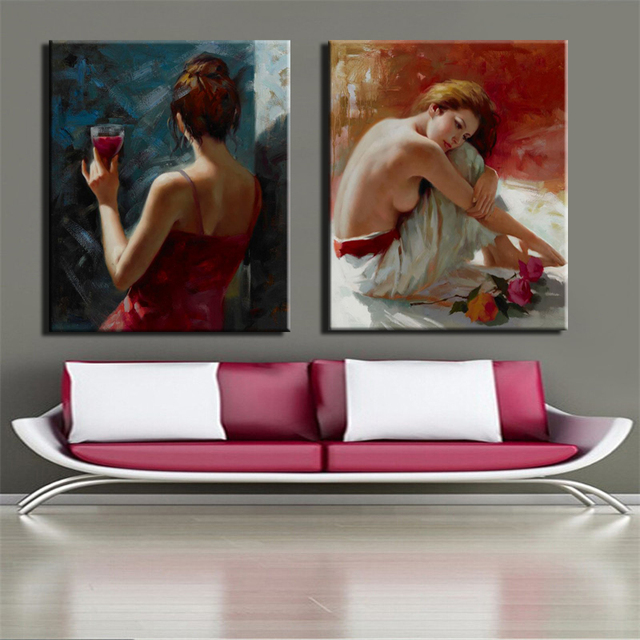 Watercolor Half-naked Beautiful Girl Poster Print Wall Art Canvas Painting Abstract Decorative Pictures for Living Room No Frame