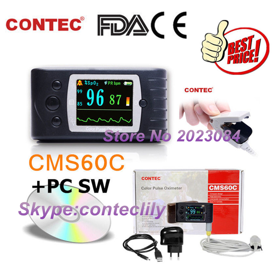 CMS60C OLED Puse Oximeter Monitor USB+PC software Pulse Rate Oxygen Blood SPO2 CONTEC