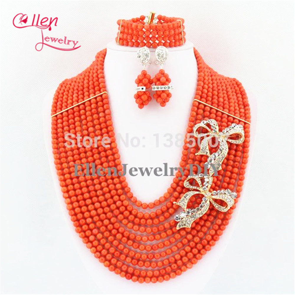 цена Silver Tone Coral Necklace Bracelet Earrings,10 Rows African Nigerian Wedding Coral Beads Jewelry Sets TL1292