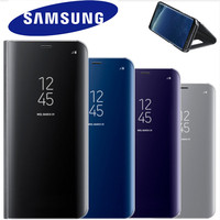 100 Original Samsung Mirror Clear View Smart Cover Phone Case For Samsung Galaxy S8 Plus S8