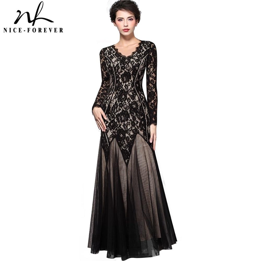 Nice Forever Vintage Grace Mature Floral Lace V Neck Grand Women Long Sleeve Celebrity -5081