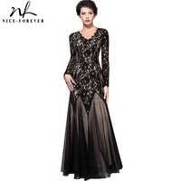 Nice Forever Vintage Grace Mature Floral Lace V Neck Grand Women Long Sleeve Celebrity Bodycon Maxi