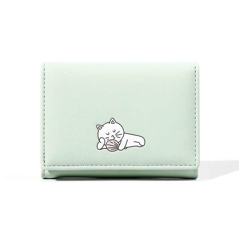 Неко ленивый кот печати леди маленький кошелек Kawaii портмоне «кошка» карамельный цвет короткий кошелек из искусственной кожи ID Держатель карты мелкие Деньги сумки