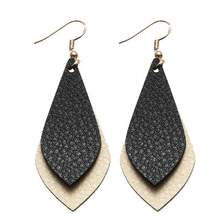 ZWPON 2018 New Layered Flat Leather Earrings for Women Bohemian Vintage Teardrop Dangle Fashion Jewelry Personalized