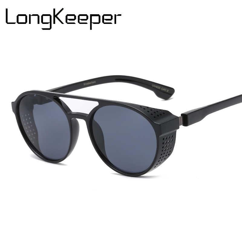 8930221f2f8 Retro Steampunk Sunglasses Round Men Women Fashion Style Circular Glasses  Steam Punk Shields Sunglasses HD Lenses