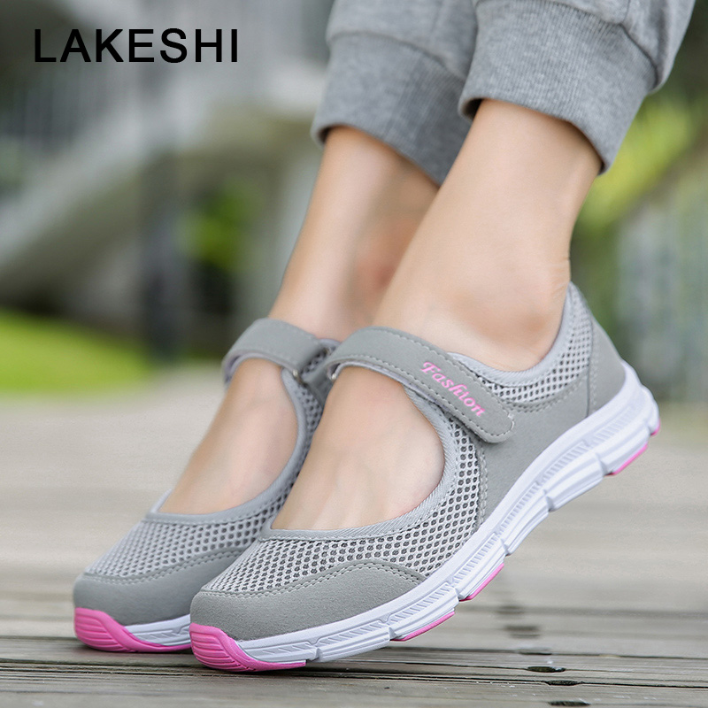 LAKESHI New Women Vulcanize Shoes Summer Mesh Casual Shoes Women Flat Soft Bottom Sneakers Breathable outdoor Women Shoes 35-43 shaloxi spring summer new breathable women shoes mech flat new style casual outdoor fashion soft black women shoes hot sales a77
