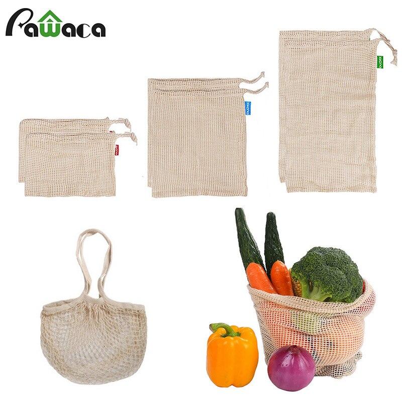 7 pçs/set Malha Produzir Sacos de Algodão Reutilizável Fruit Vegetal Sacos de Compras Sacolas de Supermercado de Organizar Saco Lavável Durável Bolsa de Transporte