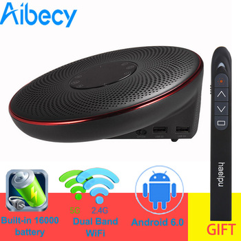 Aibecy DLP Video Projector 3D Mini Home Theater Projector Dual HiFi Speaker 2000 Lumen 4K Resolution Free Wireless Presenter